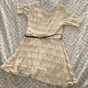 Fit and Flare Lace Dress w Belt